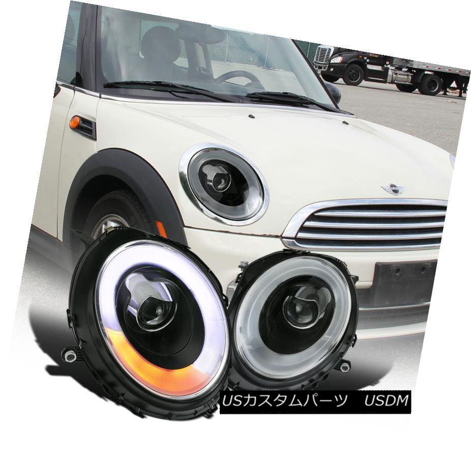 ヘッドライト 2007-2012 Mini Cooper Halo Rims LED DRL Turn Signal Black Projector Headlights 2007-2012ミニクーパーHalo Rims LED DRLターンシグナルブラックプロジェクターヘッドライト