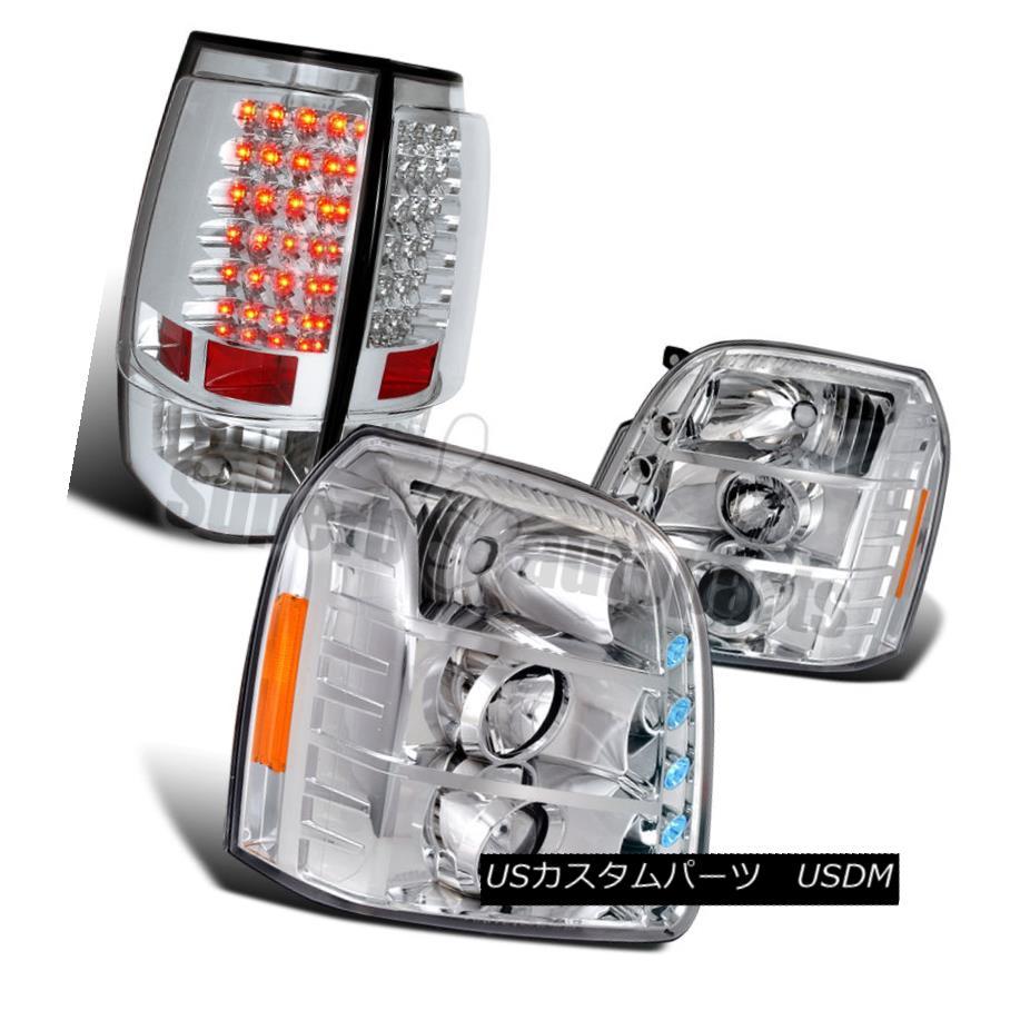 ヘッドライト 2007-2012 GMC Yukon XL Clear Projector Headlights+Chrome LED Tail Brake Lights 2007-2012 GMC Yukon XLクリアプロジェクターヘッドライト+ Chr  ome LEDテールブレーキライト