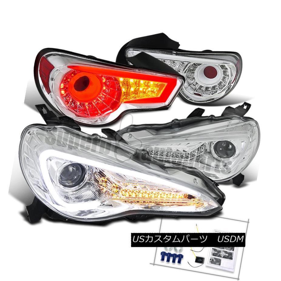 ヘッドライト 2012-2016 86 FR-S Projector LED DRL Headlights Chrome+Clear LED Tail Brake Lamps 2012-2016 86 FR-SプロジェクターLED DRLヘッドライトクローム+クリアLEDテールブレーキランプ
