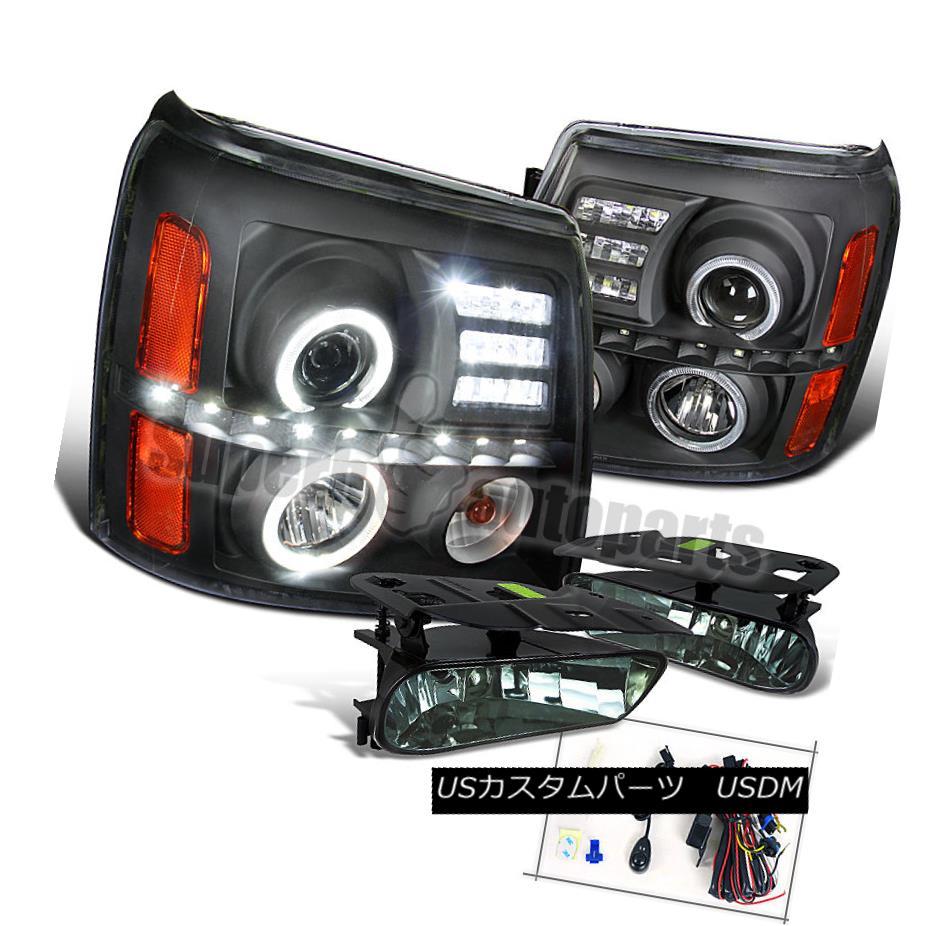 ヘッドライト 2002-2006 Cadillac Escalade LED Halo Head Lights Black+Driving Fog Lamps Smoke 2002-2006キャデラック・エスカレードLEDハローヘッドライトブラック+ドライフォグランプスモーク