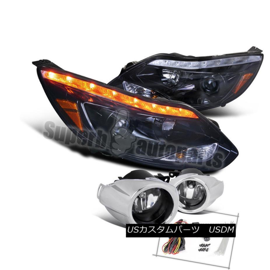 ヘッドライト 2012-2014 Focus LED DRL Signal Projector Headlights Glossy Black+Fog Light Clear 2012年から2014年のフォーカスLED DRL信号プロジェクターヘッドライト光沢のあるブラック+フォグライトクリア
