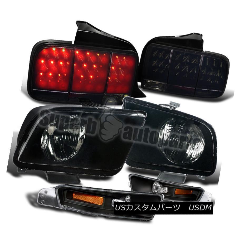ヘッドライト 2005-2009 Mustang Headlights+Bumper Lights Black+LED Tail Sequential Lamps Smoke 2005年?2009年ムスタングヘッドライト+ブーム ライトごとブラック+ LEDテールシーケンシャルランプスモーク