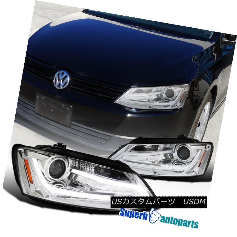 ヘッドライト 2011-2013 VW Jetta LED Projector Headlights Clear w/ LED DRL Bar SpecD Tuning 2011年?2013年VWジェッタLEDプロジェクターヘッドライトLED付きDRLバー仕様チューニング