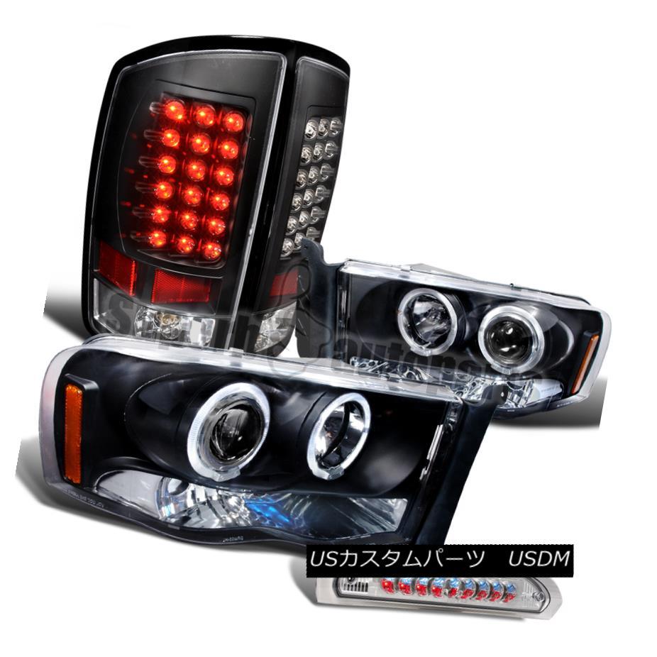 ヘッドライト 2002-2005 Dodge Ram Black Halo Projector Headlight+LED Tail Lamp+3rd Brake Light 2002-2005ダッジラムブラックハロープロジェクターヘッドライト+ LEDテールランプ+第3ブレーキライト