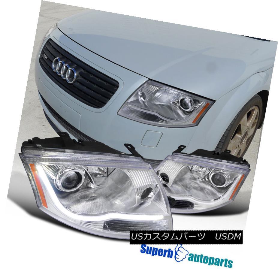 ヘッドライト 1999-2006 Audi TT LED DRL Light Bar Projector Chrome Headlights Head Lamps Clear 1999-2006 Audi TT LED DRLライトバープロジェクタークロームヘッドライトヘッドランプクリア