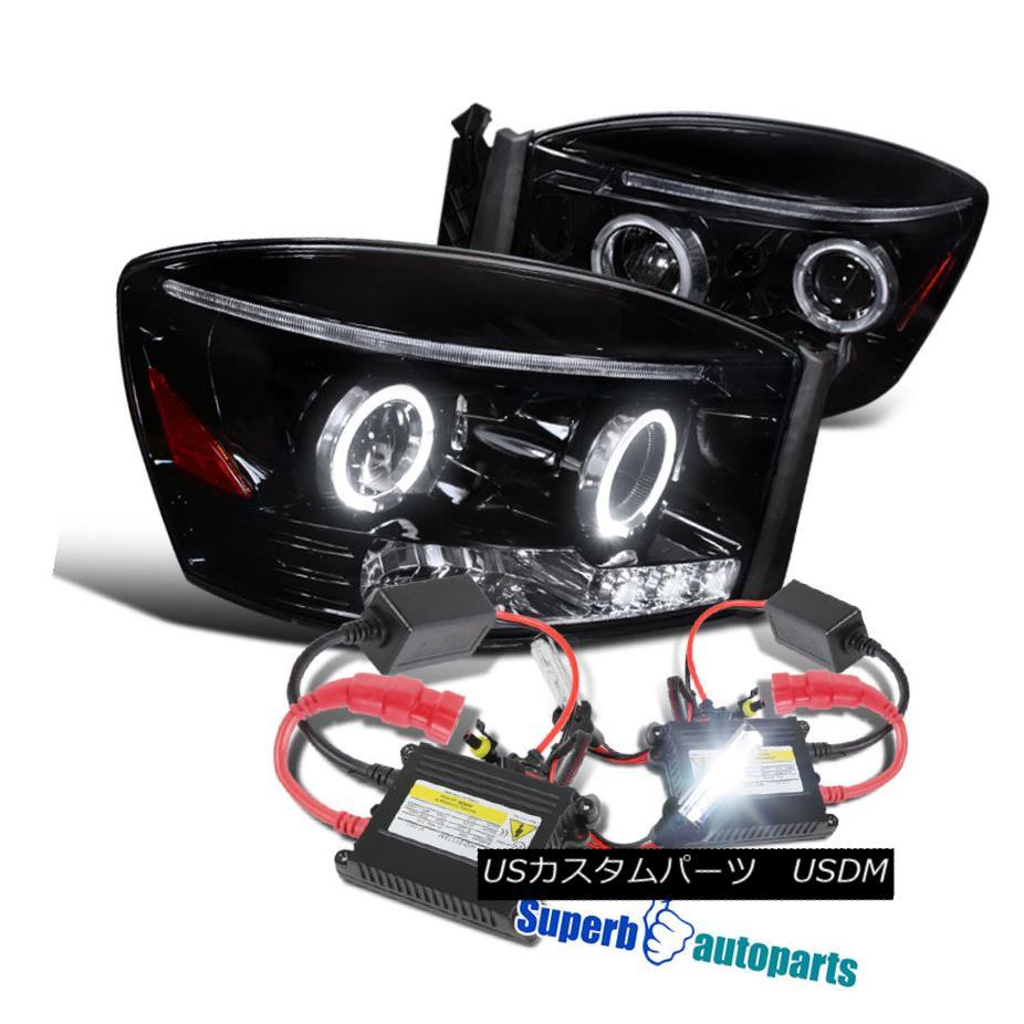 ヘッドライト 2006-2008 Ram 1500/2500/3500 Halo Projector Headlights Glossy Balck+H1 Slim HID 2006-2008ラム1500/2500/3500ハロープロジェクターヘッドライトグロスブラック+ H1スリムHID