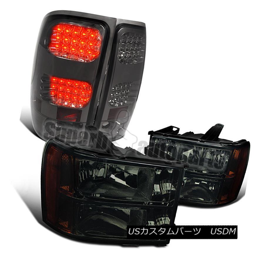 ヘッドライト 2007-2014 GMC Sierra Pickup Smoke Headlights Amber+Tinted LED Tail Lamps 2007-2014 GMC Sierraピックアップスモークヘッドライトオレンジ+ティンテッドLEDテールランプ