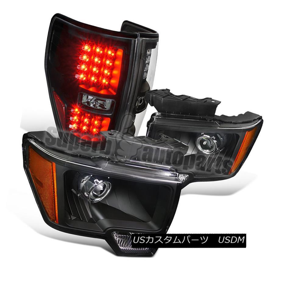 ヘッドライト 2009-2014 F150 New Retro Style Black Projector Headlights+LED Tail Brake Lamps 2009-2014 F150新しいレトロスタイルブラックプロジェクターヘッドライト+ LEDテールブレーキランプ