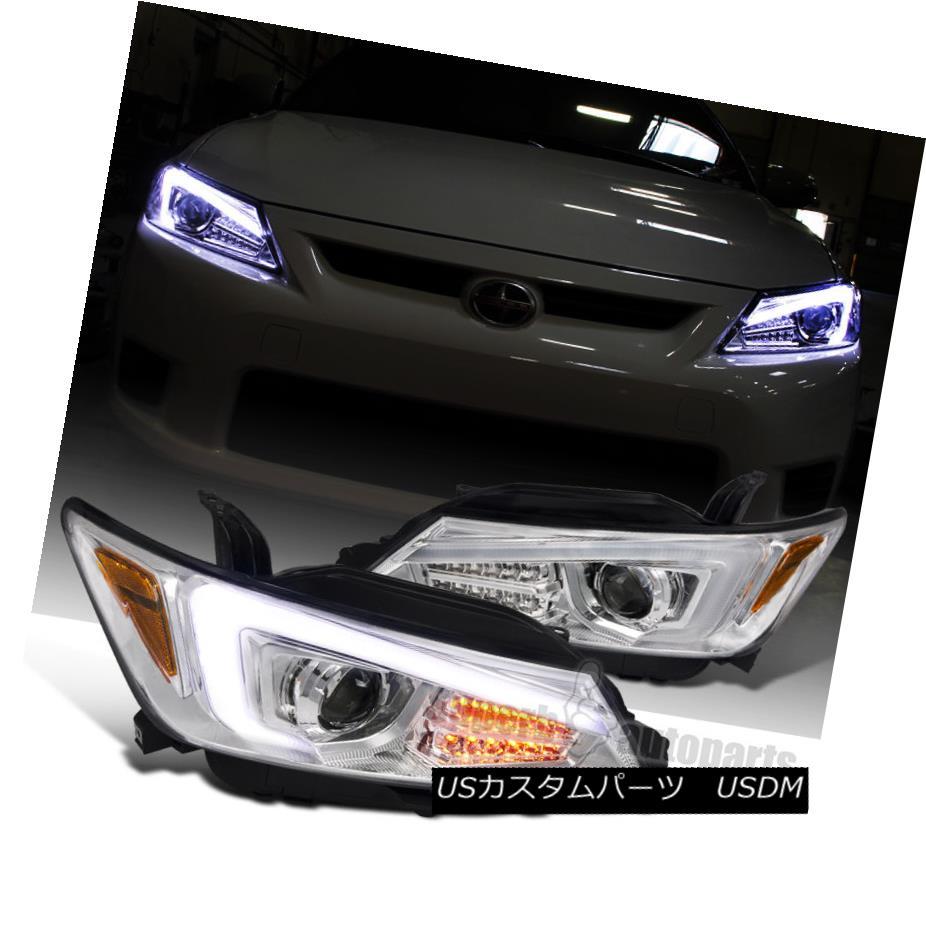 ヘッドライト 2011-2013 Scion tC Chrome Projector Headlights w/ LED Signal & LED Strip 2011-2013シオンtCクロームプロジェクターヘッドライト(LEDシグナル& LEDストリップ