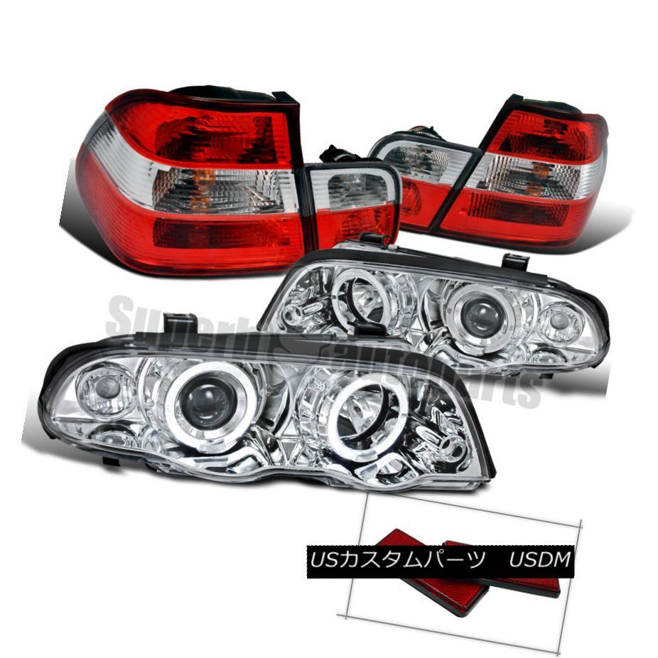ヘッドライト 1999-2001 BMW E46 4D Halo Projector Headlights Chrome+Tail Trunk Light Red/Clear 1999-2001 BMW E46 4D Haloプロジェクターヘッドライトクローム+テールトランクライトレッド/クリア