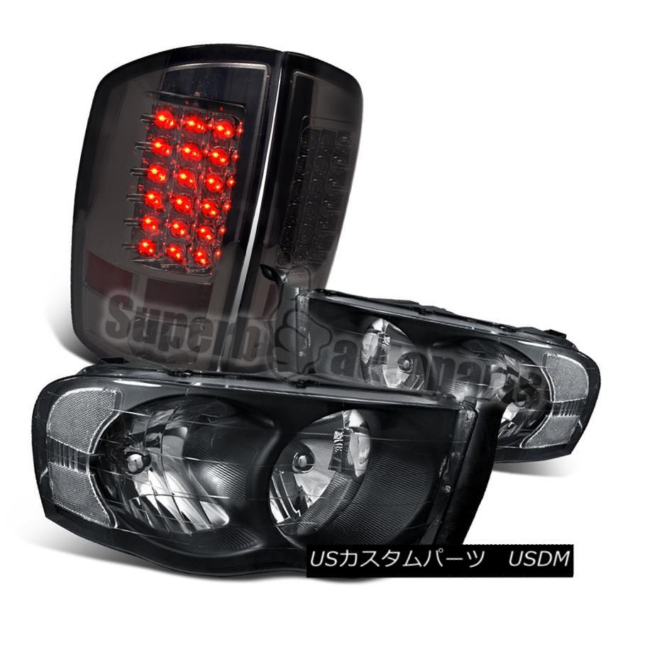 ヘッドライト 2002-2005 Dodge Ram 1500 2500 3500 Headlight Black+LED Tail Brake Lamp Smoke 2002-2005 Dodge Ram 1500 2500 3500ヘッドライトブラック+ LEDテールブレーキランプスモーク