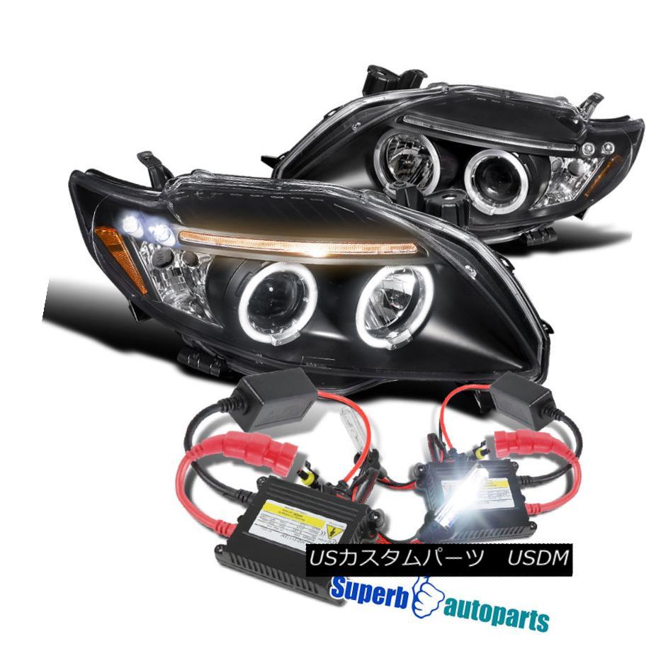 ヘッドライト 2009-2010 Toyota Corolla LED Halo Projector Headlights Black+H1 Slim HID Kit 2009-2010トヨタカローラLEDハロープロジェクターヘッドライトブラック+ H1スリムHIDキット