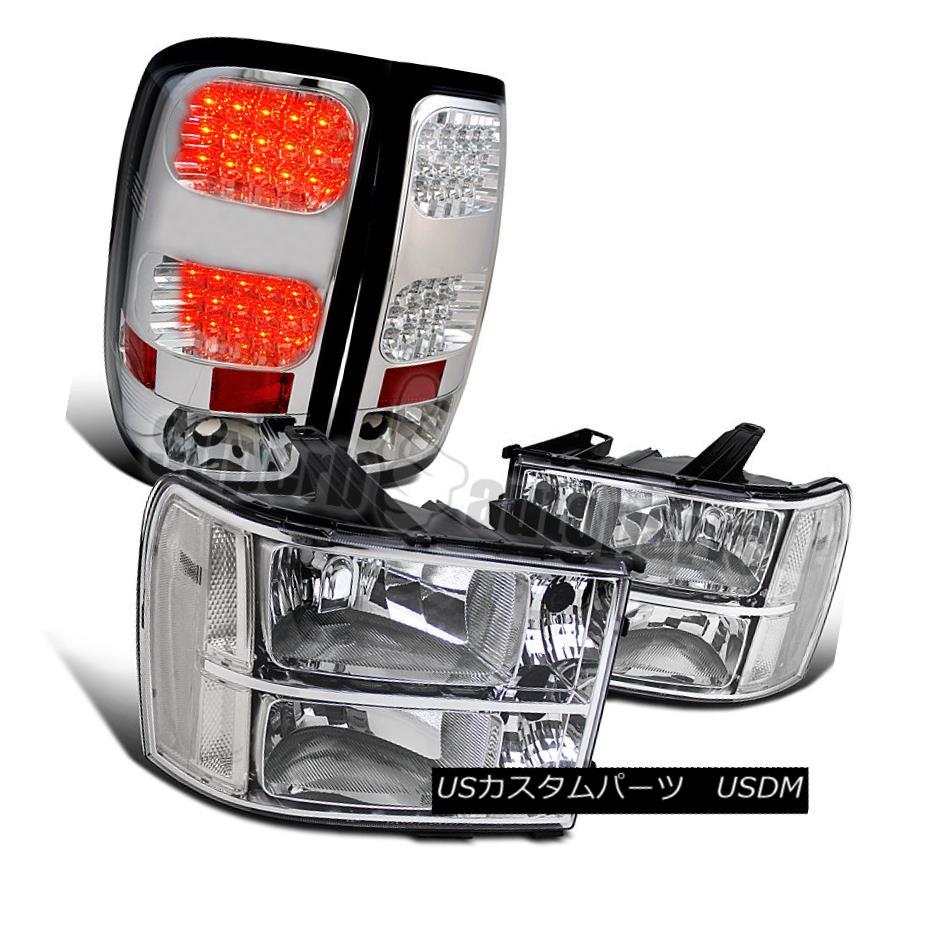 ヘッドライト 2007-2013 GMC Sierra Pickup Chrome Headlights Clear+LED Tail Lamps Brake Lights 2007-2013 GMC Sierraピックアップクロームヘッドライトクリア+ LEDテールランプブレーキライト