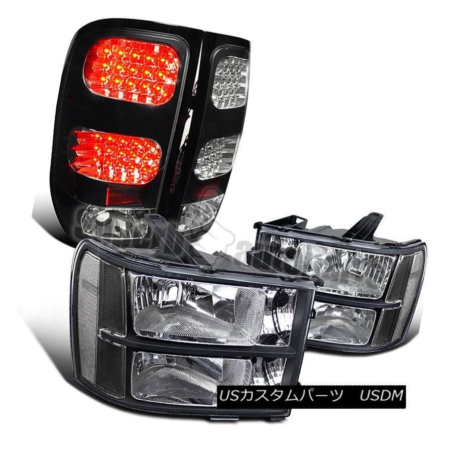 ヘッドライト 2007-2013 GMC Sierra Pickup Black Headlights Clear+LED Tail Lamps Brake Lights 2007-2013 GMC Sierraピックアップブラックヘッドライトクリア+ LEDテールランプブレーキライト