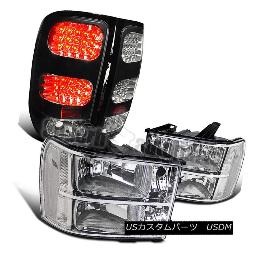 ヘッドライト 2007-2013 GMC Sierra Pickup Chrome Headlights Clear+LED Tail Lamps Brake Black 2007-2013 GMC Sierraピックアップクロームヘッドライトクリア+ LEDテールランプブレーキブラック