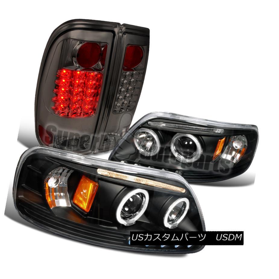 ヘッドライト 1997-2003 Ford F150 Black Halo LED Projector Headlights+Tail Brake Lamps Smoke 1997-2003フォードF150ブラックハローLEDプロジェクターヘッドライト+タイ lブレーキランプスモーク