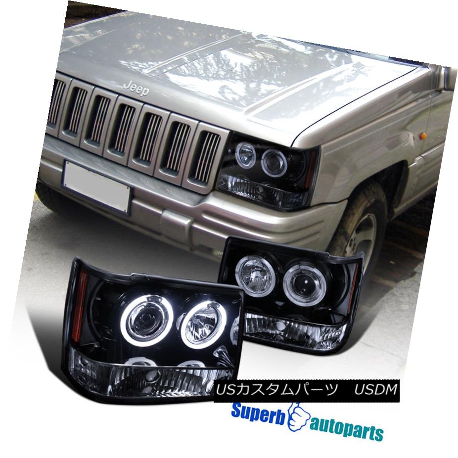 ヘッドライト 1993-1996 Jeep Grand Cherokee Smoke Halo Projector Headlight Glossy Black Pair 1993-1996ジープグランドチェロキースモークハロープロジェクターヘッドライト光沢ブラックペア