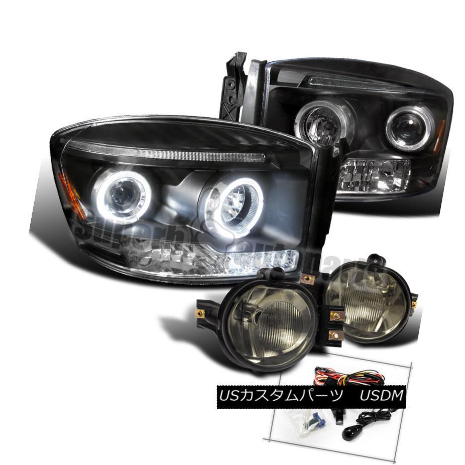 ヘッドライト 2006-2008 Dodge Ram LED Halo Projector Headlights Balck+Bumper Fog Light Smoke 2006-2008ダッジラムLEDハロープロジェクターヘッドライトブラック+バンパーフォグライトスモーク