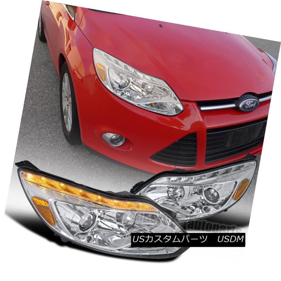 ヘッドライト 2012-2014 Ford Focus LED DRL Turn Signal Projector Headlights Chrome/ Clear 2012年?2014年フォードフォーカスLED DRLターンシグナルプロジェクターヘッドライトクローム/クリア
