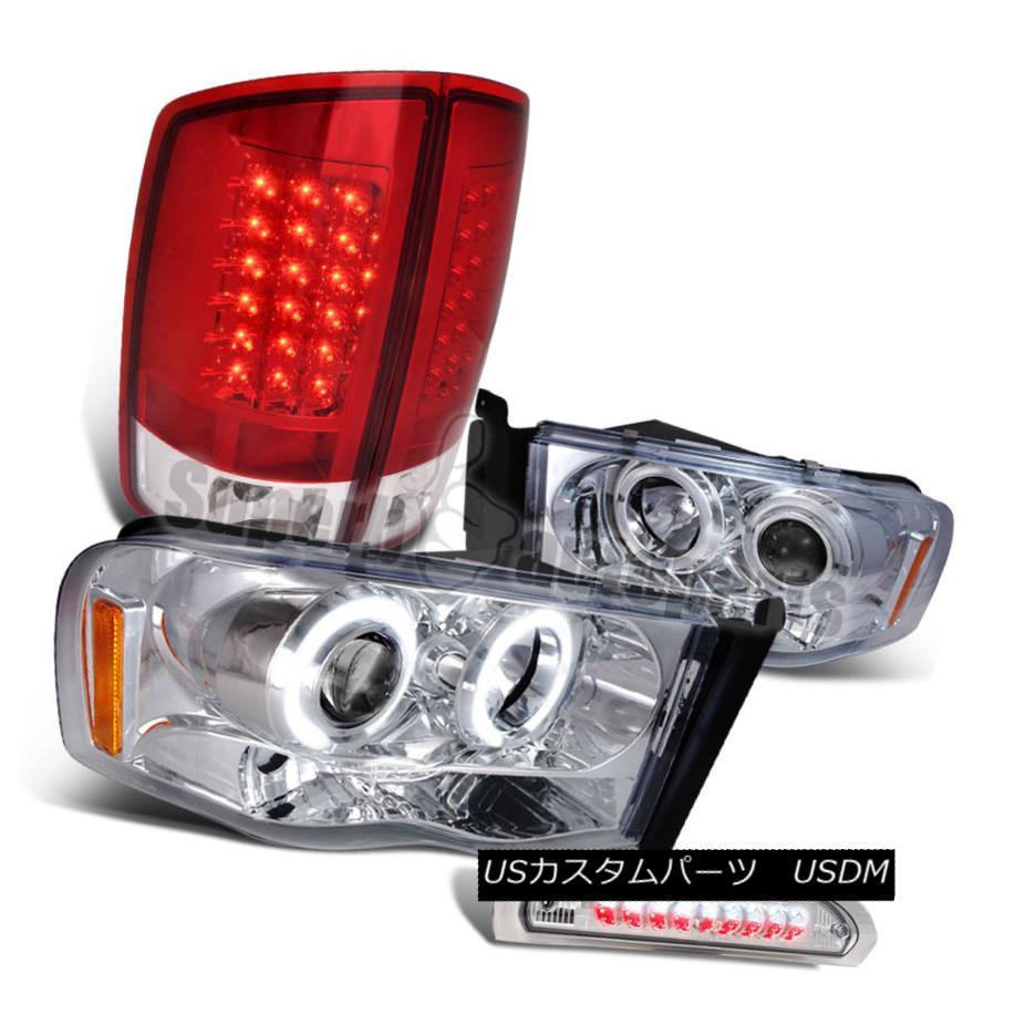 ヘッドライト 2002-2005 Dodge Ram Projector Headlights+Red LED Tail Lights+3rd Brake Lamps 2002-2005ダッジ・ラム・プロジェクター・ヘッドライト+レッドLEDテールライト+第3ブレーキランプ