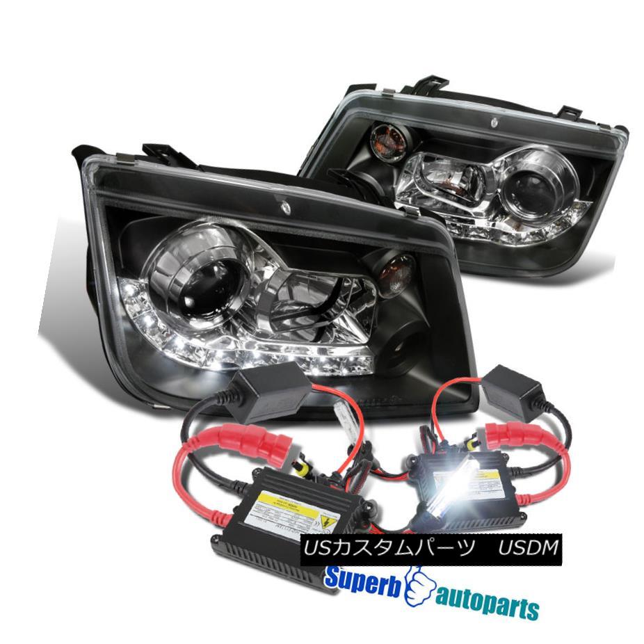 Jetta Black+H1 Kit 1999-2004 VWジェッタR8スタイルLEDループプロジェクターヘッドライトブラック+ Headlights Loop R8 Slim LED ヘッドライト Style H1スリムHIDキット 1999-2004 HID VW Projector