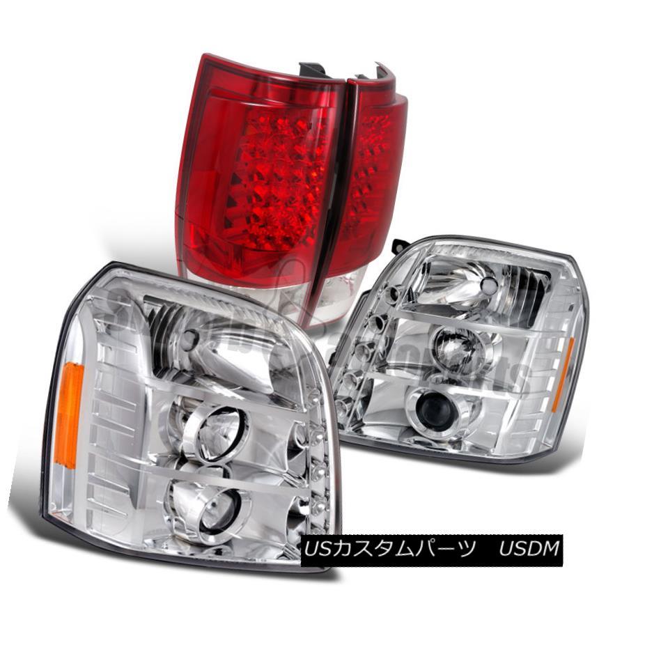 ヘッドライト 2007-2012 GMC Yukon XL Chrome Projector Headlights+LED Red Tail Brake Lamps 2007-2012 GMC Yukon XLクロームプロジェクターヘッドライト+ LEDレッドテールブレーキランプ