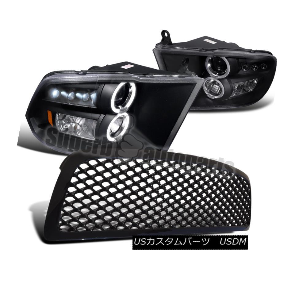 ヘッドライト 2009-2012 Dodge Ram 1500 Halo LED Projector Headlights+ABS Mesh Hood Grill Black 2009-2012ダッジラム1500ハローLEDプロジェクターヘッドライト+ ABSメッシュフードグリルブラック