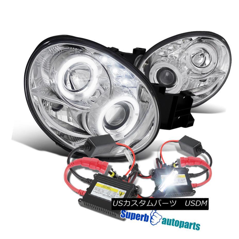 ヘッドライト For 02-03 Subaru Impreza WRX RS Halo LED Projector Headlights Clear+H1 Slim HID 02-03用スバルインプレッサWRX RSハローLEDプロジェクターヘッドライトクリア+ H1スリムHID