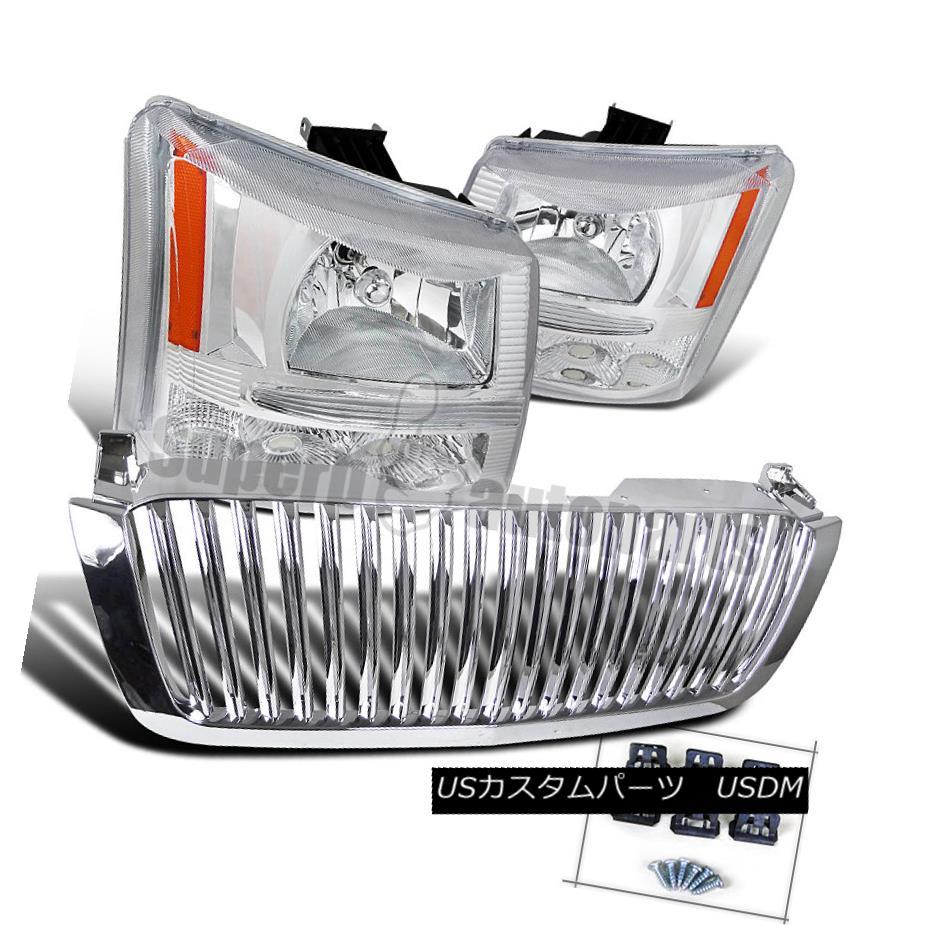 ヘッドライト 2003-2005 Silverado Euro Headlights Bumper Lamps Clear+ABS Hood Grille Chrome 2003-2005 Silverado EuroヘッドライトバンパーランプClear + ABSフードグリルクローム