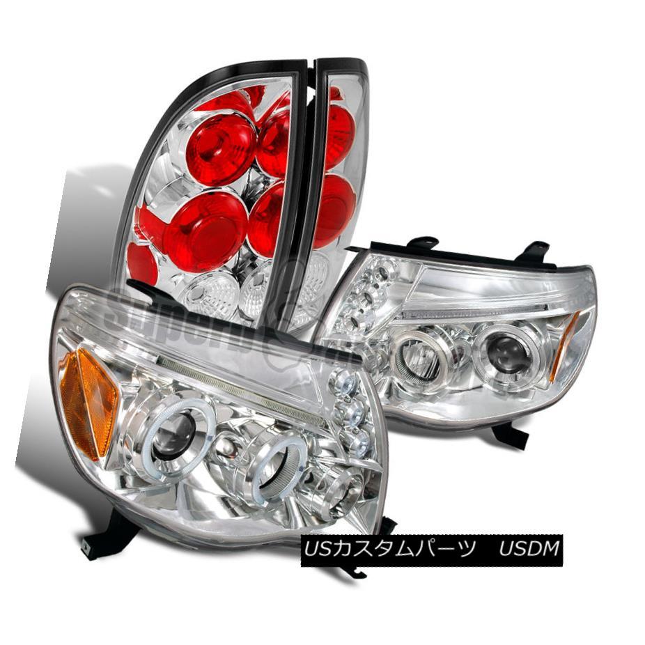 ヘッドライト 2005-2008 Toyota Tacoma Halo LED Projector Headlights+Tail Lamp Chrome Clear 2005-2008トヨタタコマハローLEDプロジェクターヘッドライト+タイ lランプクロームクリア