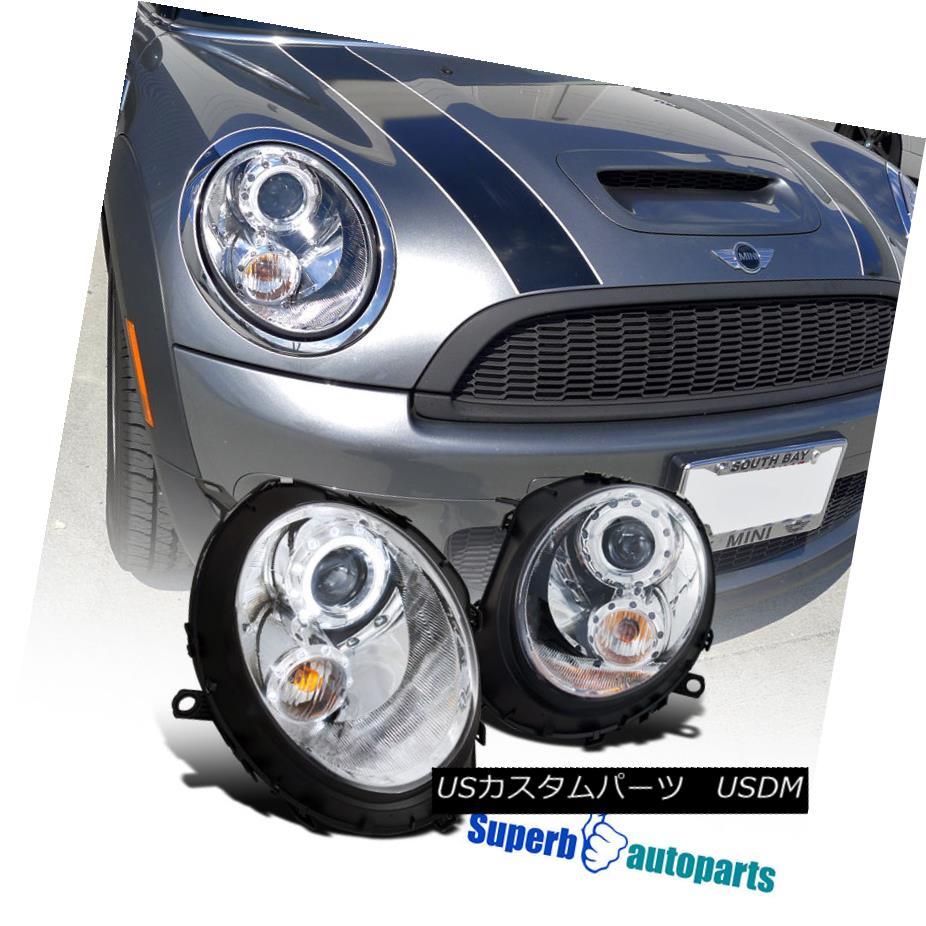 ヘッドライト 2007-2012 Mini Cooper S Halo Rim Projector Headlights Turn Signal Lamps Chrome 2007-2012 Mini Cooper S Halo Rimプロジェクターヘッドライトターンシグナルランプクローム
