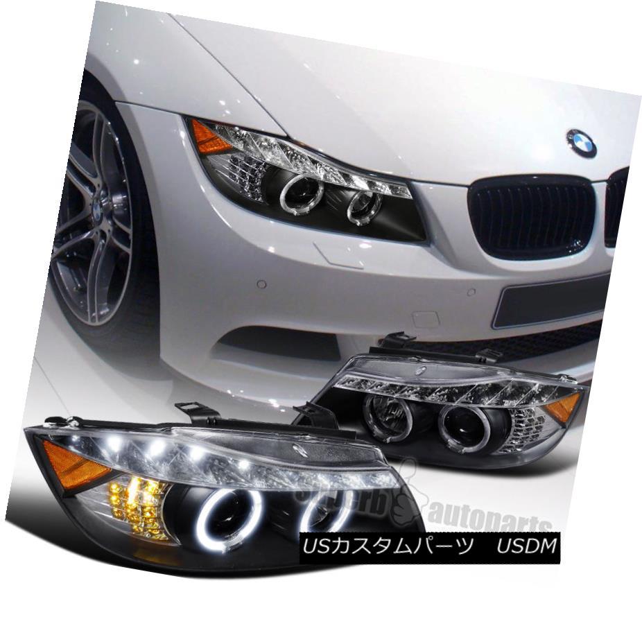 ヘッドライト 2006-2008 BMW E90 4dr 323 Halo Led Signal Projector Headlight Black SpecD Tuning 2006-2008 BMW E90 4dr 323 Halo Led信号プロジェクターヘッドライトブラック仕様調整