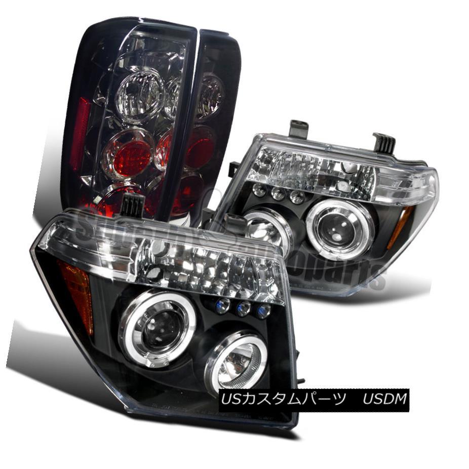 ヘッドライト For 2005-2008 Frontier Halo Black Projector LED Headlight+Smoke Tail Lamps 2005-2008フロンティアハローブラックプロジェクターLEDヘッドライト+スモーク eテールランプ用