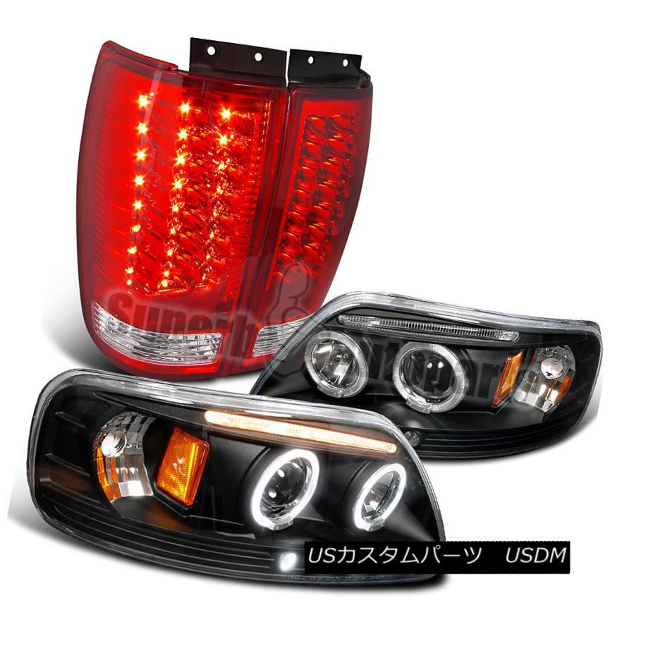 ヘッドライト 1997-2002 Expedition Halo LED Projector Headlights Black+LED Tail Lights Red 1997-2002遠征Halo LEDプロジェクターヘッドライトブラック+ LEDテールライトレッド
