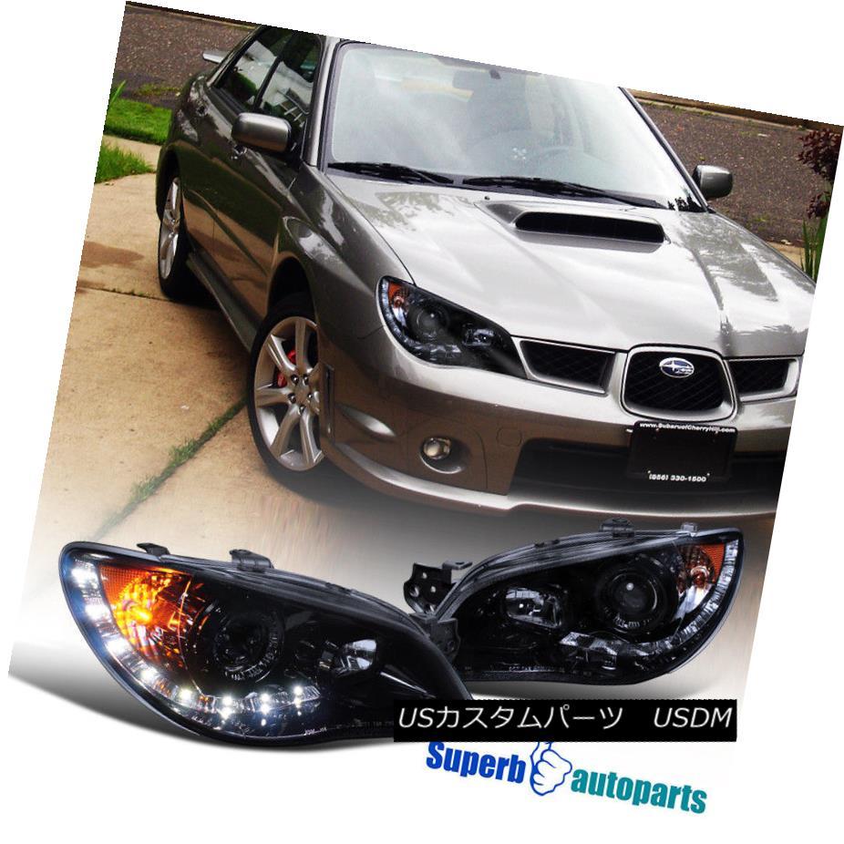 ヘッドライト For 06-07 Subaru Impreza Smoke LED DRL Headlights Head Lamps Glossy Black Pair 06-07スバルインプレッサ煙LED DRLヘッドライトヘッドランプ光沢ブラックペア