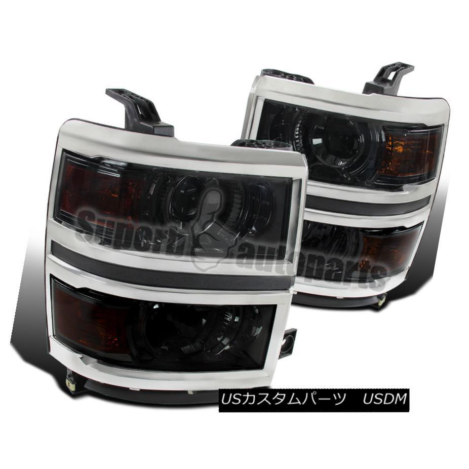 ヘッドライト 2014-2015 Chevy Silverado 1500 Chrome Smoke Projector Headlights+Amber Corner 2014-2015 Chevy Silverado 1500 Chromeの煙霧プロジェクターヘッドライト+ Amb  erコーナー