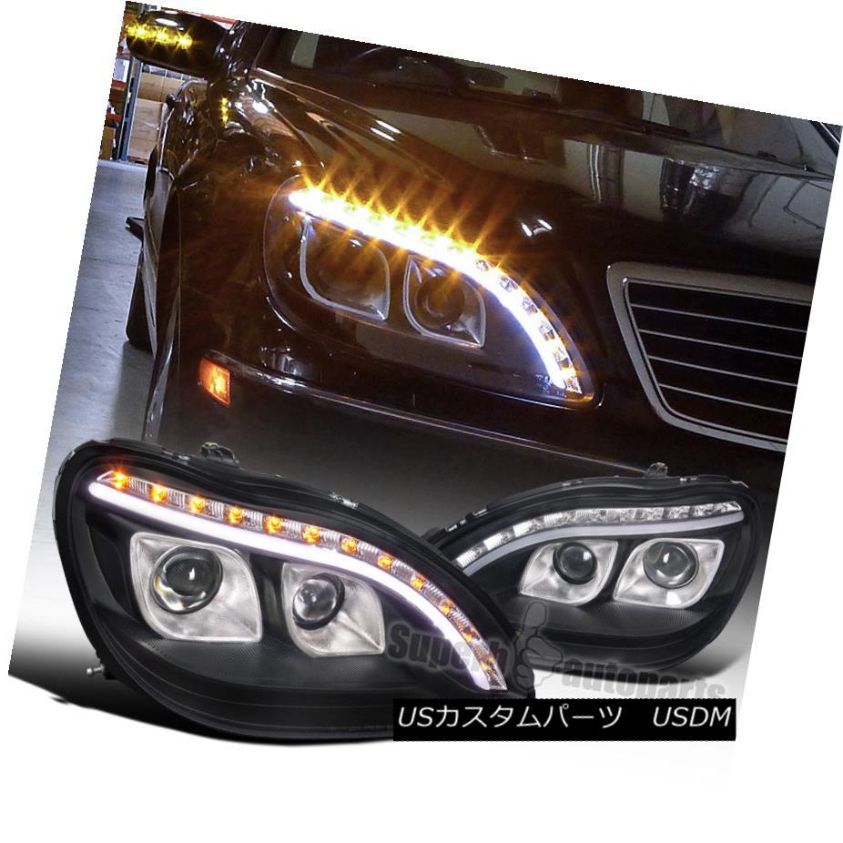 ヘッドライト 1998-2006 Mercedes Benz W220 S320 S420 Projector LED Signal DRL Black Headlights 1998-2006 Mercedes Benz W220 S320 S420プロジェクターLED信号DRLブラックヘッドライト