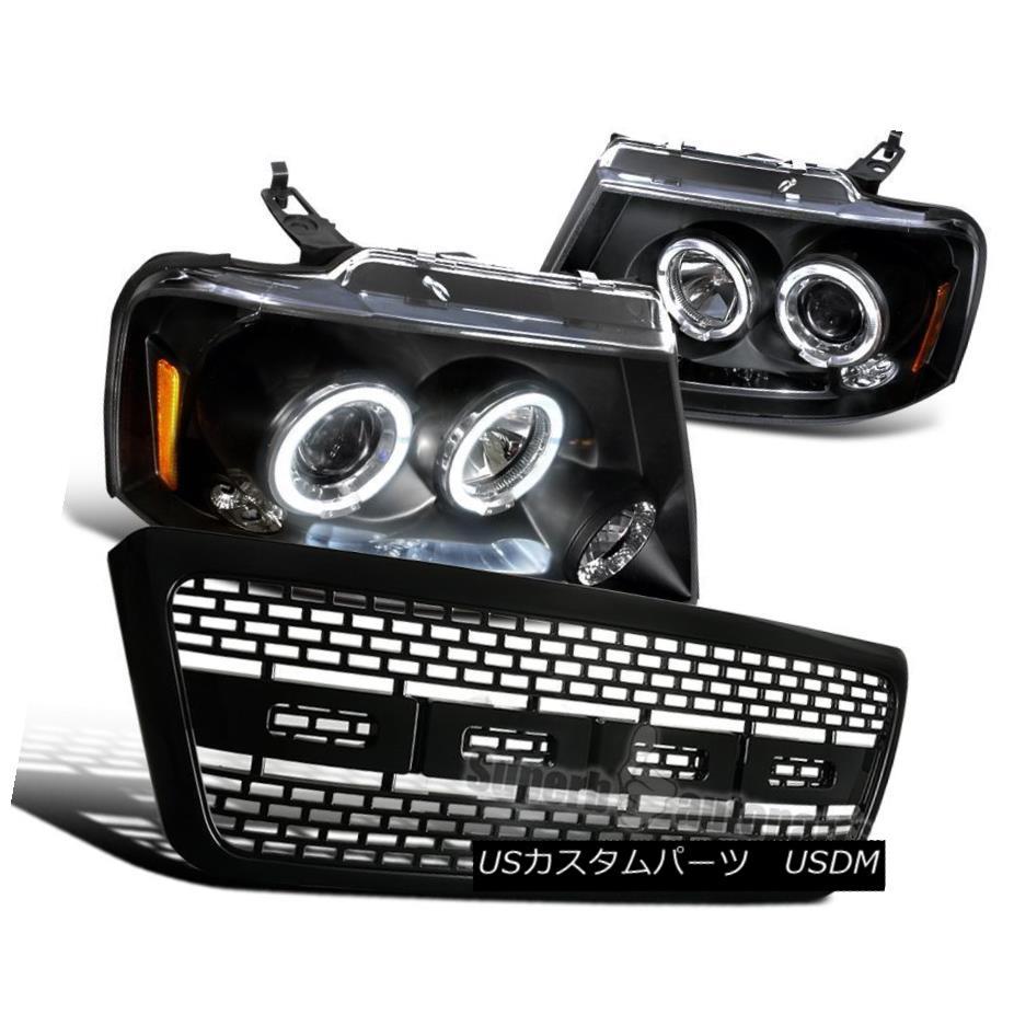 ヘッドライト 04-08 Ford F150 Dual Halo LED Projector Headlights Black + Raptor Bumper Grille 04-08 Ford F150デュアルハローLEDプロジェクターヘッドライトブラック+ラプターバンパーグリル