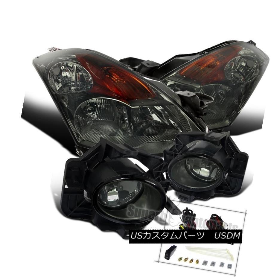 ヘッドライト Fit 2007-2009 Nissan Altima 4Dr Chrome Smoke Headlights+Smoke Lens Fog Lights フィット2007-2009日産アルティマ4Drクロームスモークヘッドライト+スモー レンズレンズフォグライト