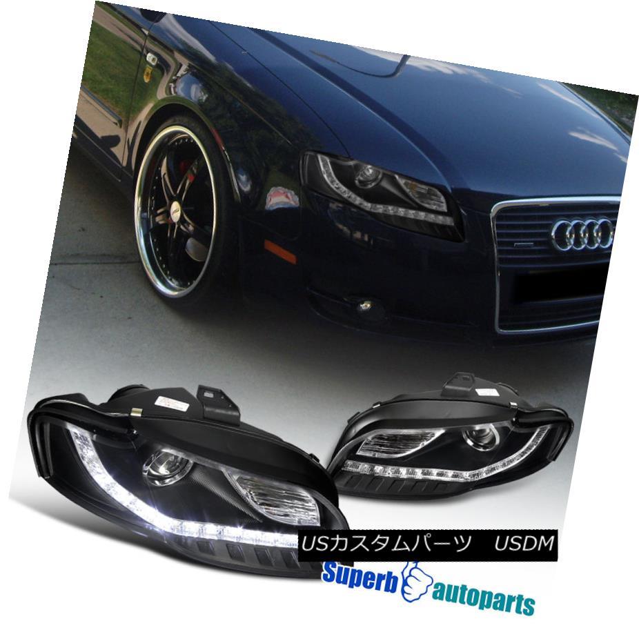 ヘッドライト For 2006-2008 Audi A4 Projector Headlights+Led DRL Lamps Black SpecD Tuning 2006 - 2008年Audi A4プロジェクターヘッドライト+ Led DRLランプBlack SpecD Tuning