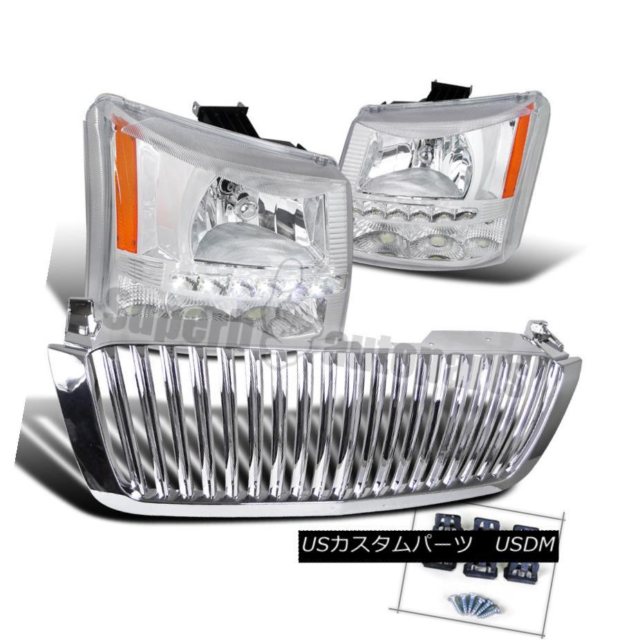 ヘッドライト 2003-2005 Silverado SMD LED DRL Headlights Bumper Lamps+ABS Hood Grille Chrome 2003-2005 Silverado SMD LED DRLヘッドライトバンパーランプ+ ABSフードグリルクローム