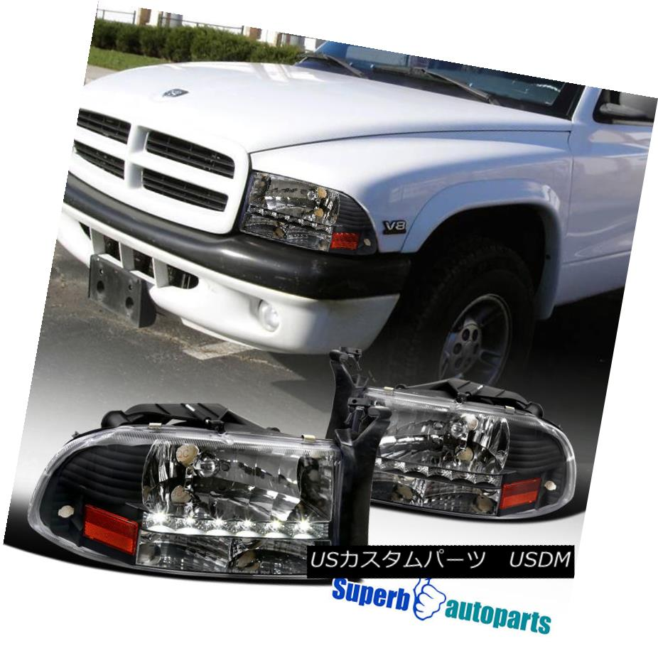 ヘッドライト 1997-2004 Dodge Dakota LED Crystal Headlights Head Lamps Black 1997-2004 Dodge Dakota LEDクリスタルヘッドライトヘッドランプブラック