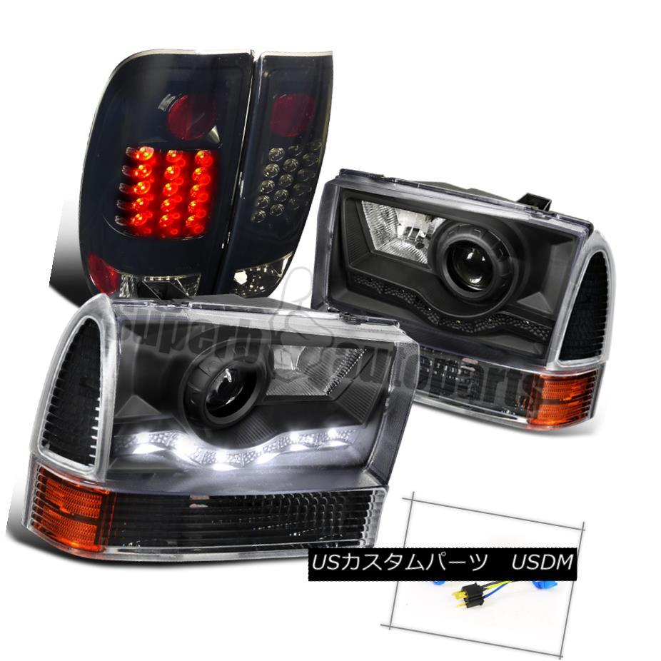 ヘッドライト 1999-2004 F250 SMD Projector Headlight+Corner Signal+LED Tail Light Glossy Black 1999-2004 F250 SMDプロジェクターヘッドライト+トウモロコシ er信号+ LEDテールライト光沢ブラック