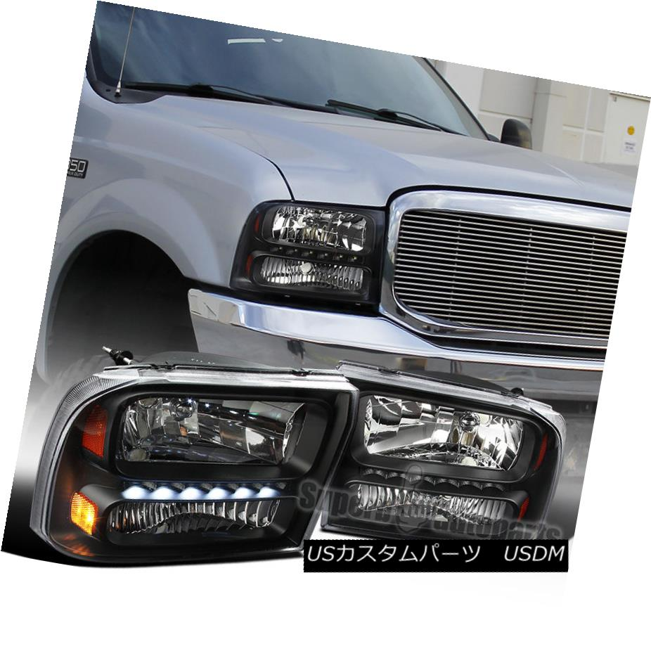 ヘッドライト Ford 99-04 F250 F350 Superduty 00-04 Excursion 1PC Black Clear LED Headlights Ford 99-04 F250 F350 Superduty 00-04エクスカーション1PCブラッククリアLEDヘッドライト