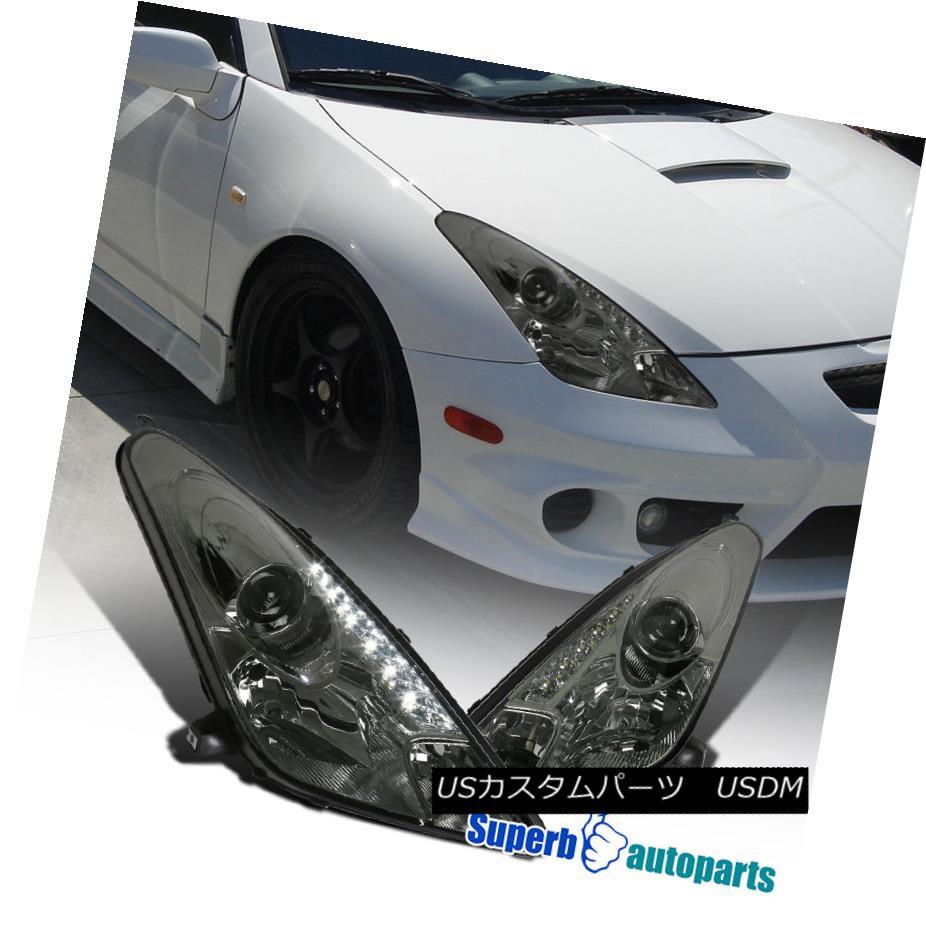 ヘッドライト 00-05 Toyota Celica LED DRL Projector Headlights Smoke Replacement Pair 00-05トヨタCelica LED DRLプロジェクターヘッドライト煙交換ペア