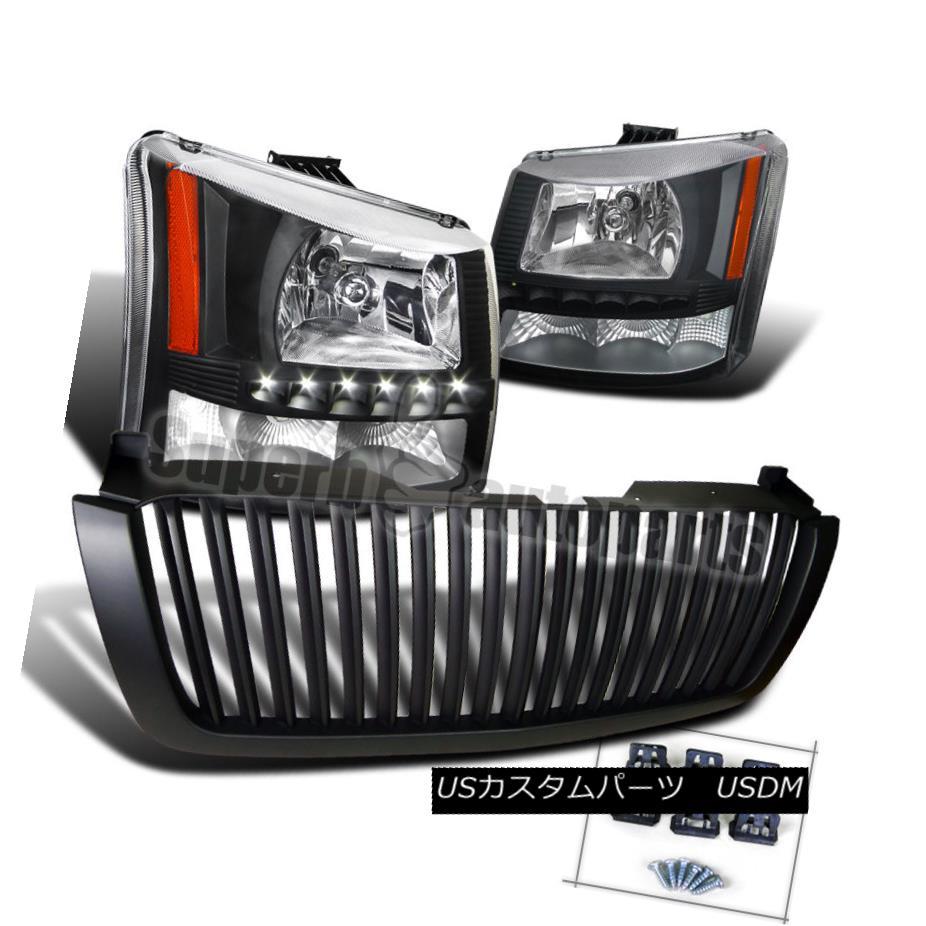 ヘッドライト 2003-2005 Silverado SMD LED DRL Headlights Bumper Lamps+ABS Hood Grille Black 2003-2005 Silverado SMD LED DRLヘッドライトバンパーランプ+ ABSフードグリルブラック
