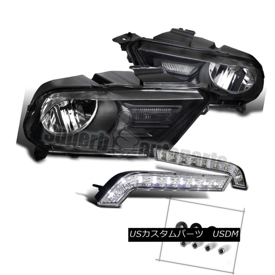 ヘッドライト 2010-2014 Mustang GT Black Headlight Smoke Lens+SMD LED DRL Bumper Lights Clear 2010-2014 Mustang GTブラックヘッドライトスモークレンズ+ SMD LED DRLバンパーライトクリア