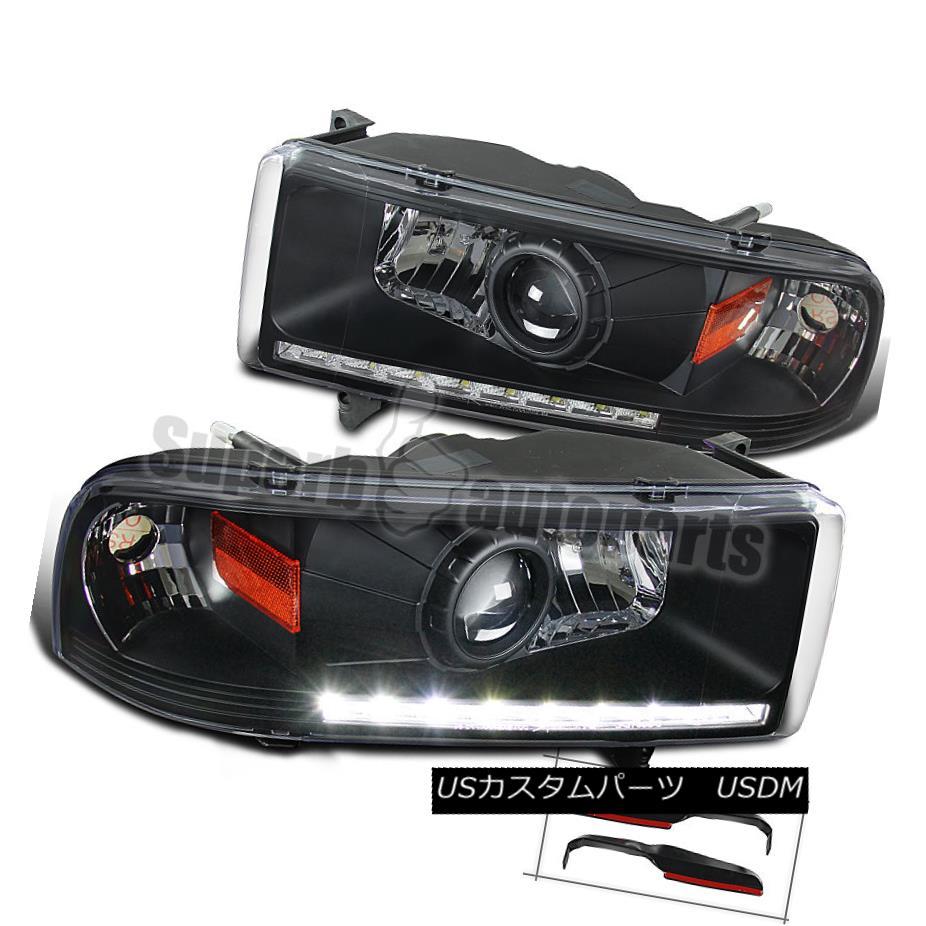 ヘッドライト Dodge 94-01 Ram 1500 94-02 Ram 2500/3500 Black LED DRL Projector Headlights Dodge 94-01 Ram 1500 94-02 Ram 2500/3500ブラックLED DRLプロジェクターヘッドライト