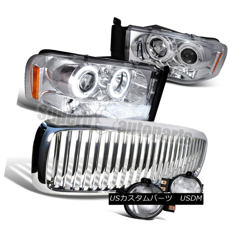 ヘッドライト 2002-2005 Ram Halo Led Projector Headlight+Fog Lamp Clear+Vertical Grille Chrome 2002-2005 Ram Halo Ledプロジェクターヘッドライト+フォグランプClear + Vertical Grille Chrome