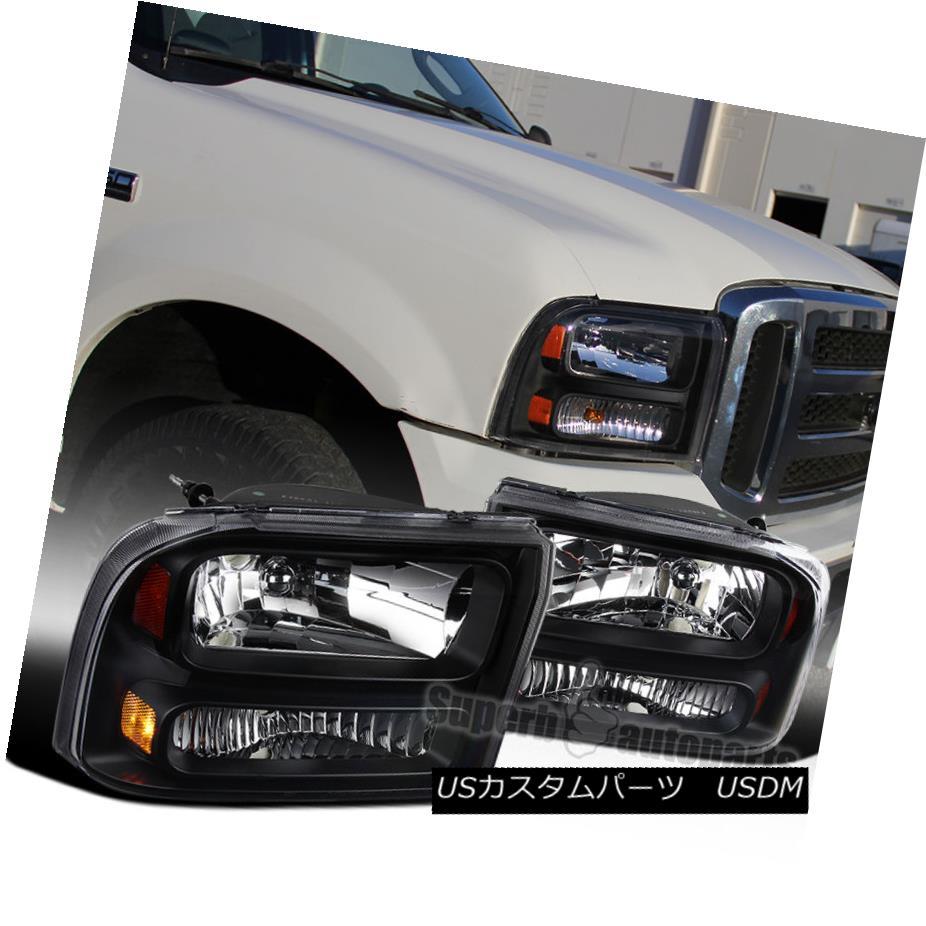 ヘッドライト Ford 1999-2004 F250 F350 Super Duty 2000-2004 Excursion Black Clear Headlights フォード1999-2004 F250 F350スーパーデューティ2000-2004エクスカーションブラッククリアヘッドライト